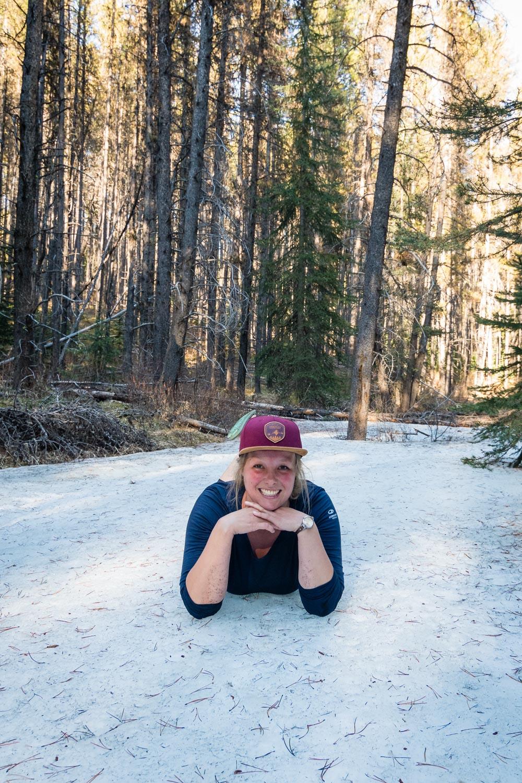 Katie finds a frozen river.