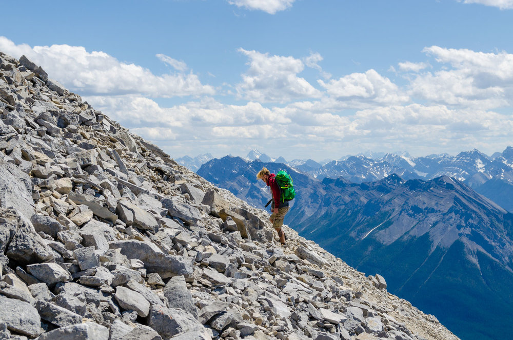 Hiking up Mount Rundle.  Probably the hardest hike of the summer.