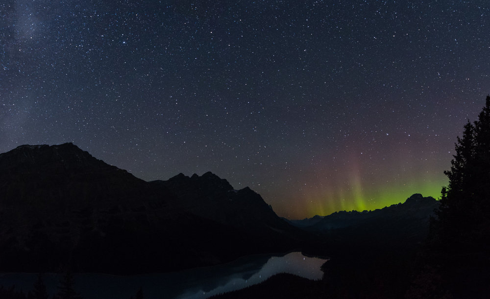 The northern lights over Peyto Lake.  We were just a bit too far south to see the really strong northern lights.  Only occasionally did they come this far south.