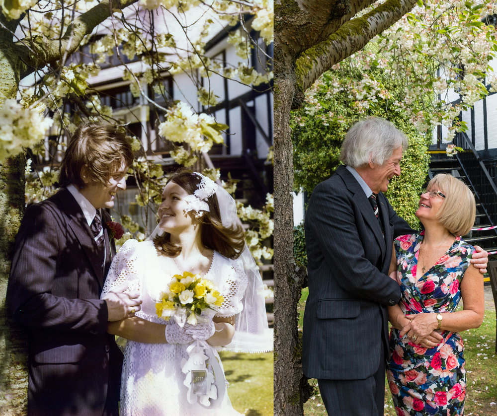 Recreating an old wedding photo.
