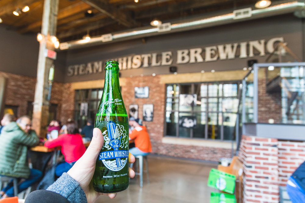 Touring the Steam Whistle brewery. Steam Whistle are a great company having won many awards. Their beer is really nice to.