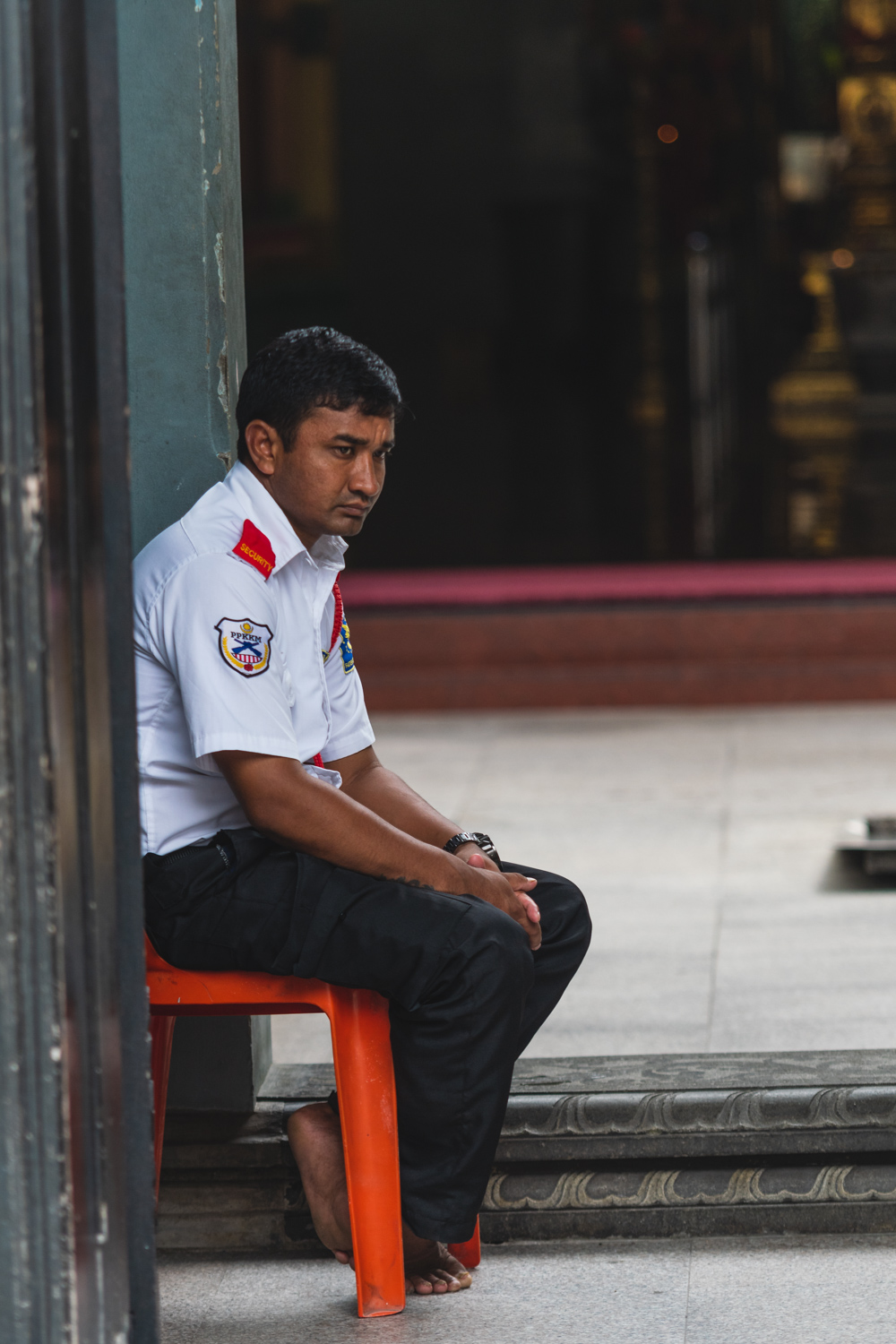 The somewhat uneventful life of a temple security guard.