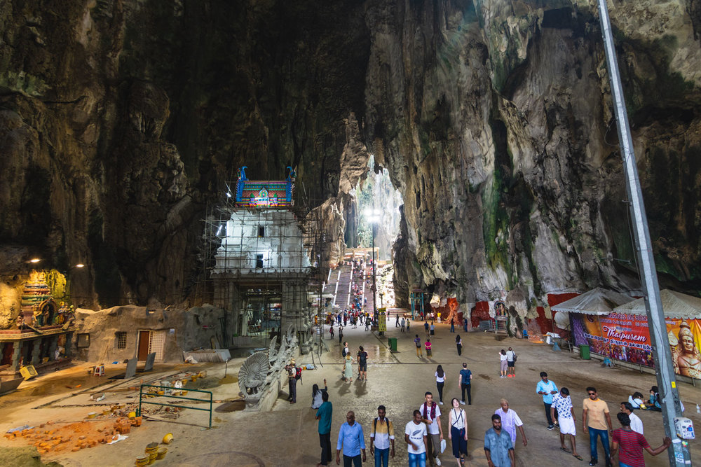 Inside the Batu Caves.  Looking at the top of the unfinished temple in the centre left, you can see how colourful it will be when finished.