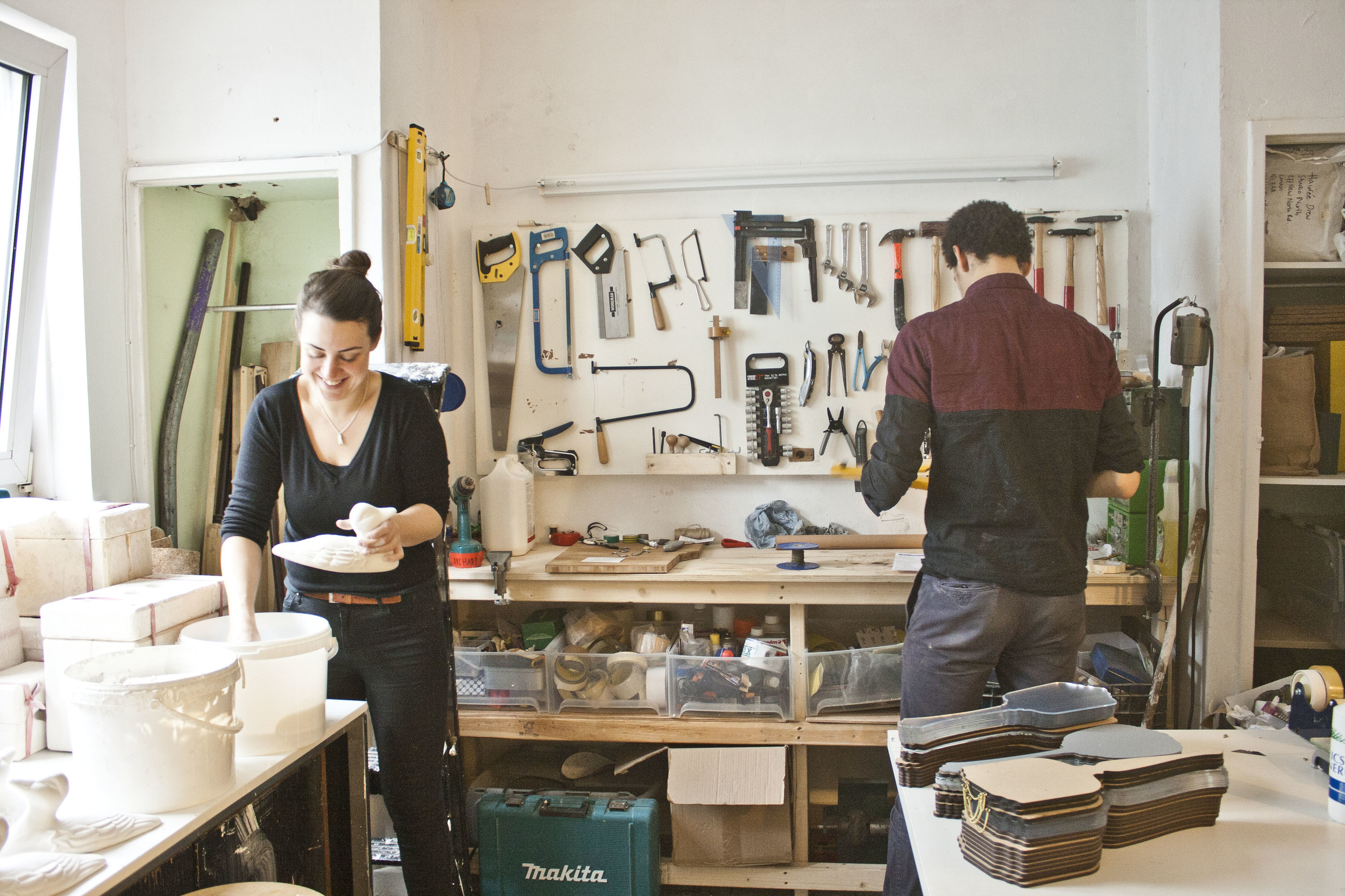 Haidee and Richard in the workshop