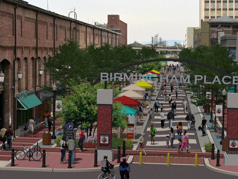 "A vision for a more people-oriented place, with a ""flexible"" street that is closed to cars during special events, on Powell Avenue in Birmingham, Alabama"