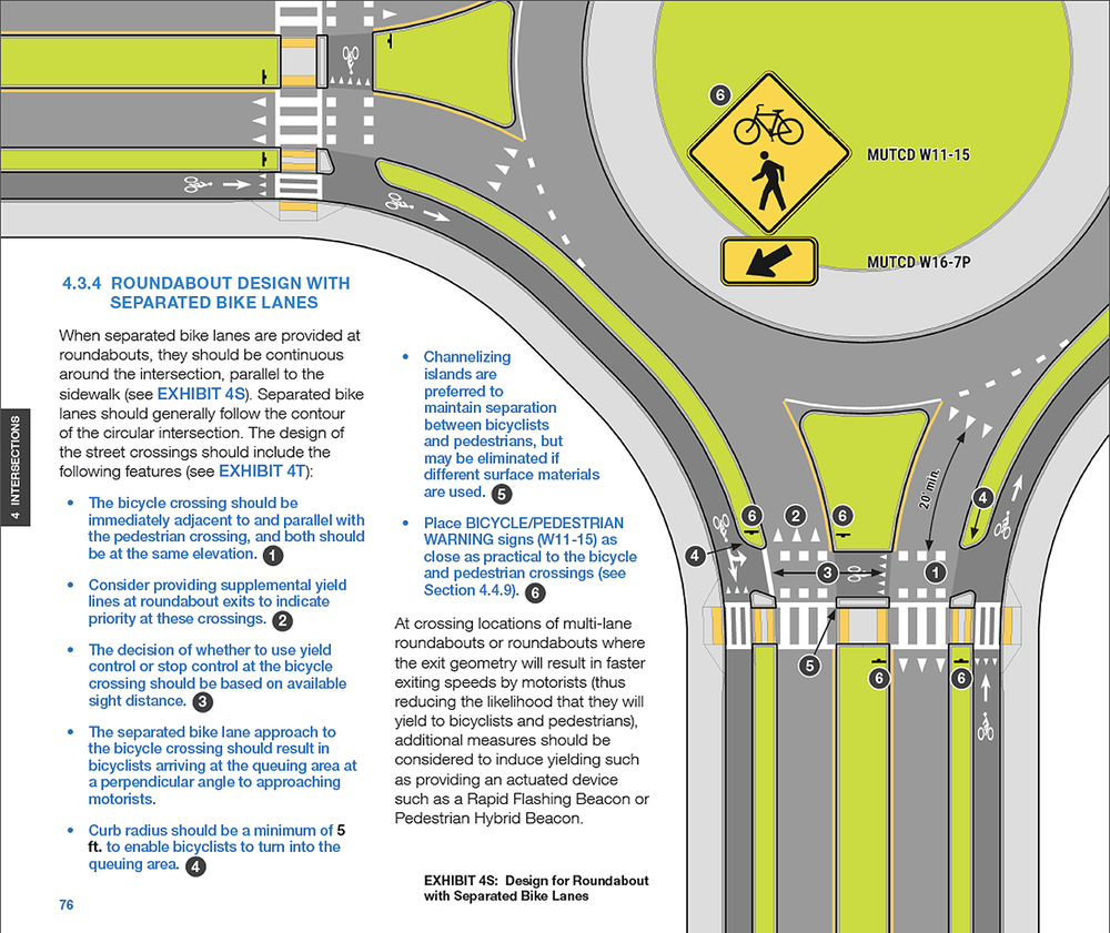 THE MASSACHUSETTS DEPARTMENT OF TRANSPORTATION CREATED A DESIGN GUIDE THAT INCLUDES GUIDANCE ON ROUNDABOUTS WITH SEPARATED BIKE LANES (THIS IS PAGE 76 OF CHAPTER 4: INTERSECTION DESIGN): https://www.massdot.state.ma.us/Portals/8/docs/SBLG/Chapter4_Intersections.pdf