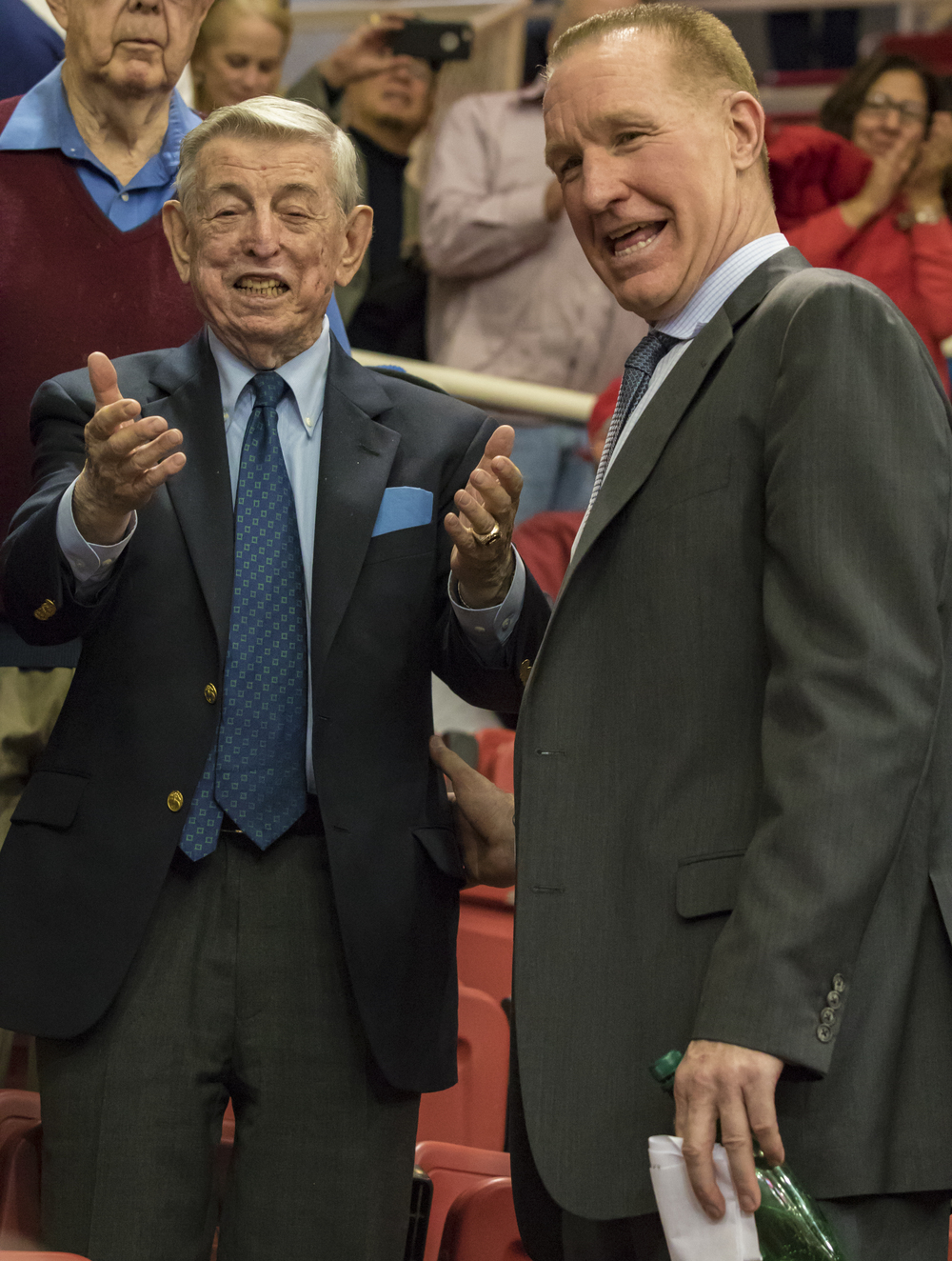 Former St. John's head coach Lou Carnesecca & current head coach Chris Mullin