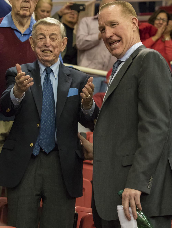 Former St. John's head coach Lou Carnesecca & current head coach Chris Mullin
