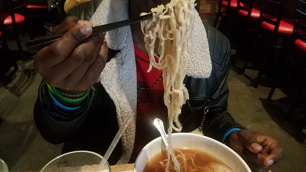 Devante and I eating ramen -- inspired by his love for the anime, Naruto. He nailed his first go at chopsticks!