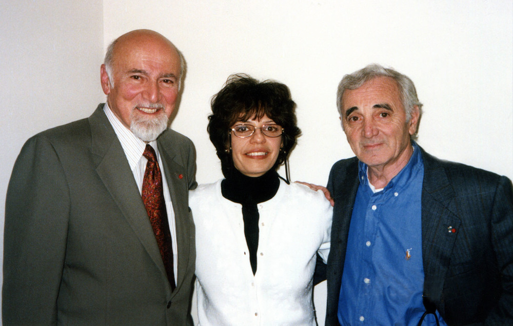 Datevik with legendary French-Armenian chansonnier,  Charles Aznavour , and  record producer,   George Avakian .