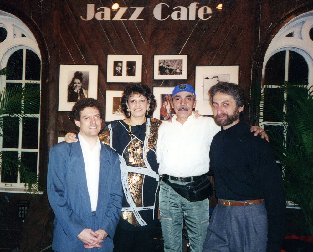 Datevik with drummer, Portinho, bassist, Timothy Givens, and jazz pianist,  Armen Donelian .