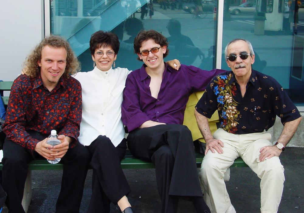 Datevik with bassist, Hans Glawischnig, drummer, Portinho, and pianist, Misha Piatigorsky.