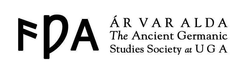 The logo of ÁVA, featuring a brief history of English language script: From left to right, Elder Futhark *ansuz, Middle English wynn, and the modern letter A.