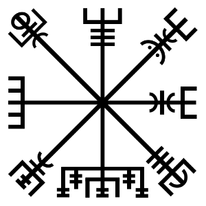 "The  Vegvísir , a symbol from the mid-19th century Huld manuscript. The manuscript says that the bearer of the symbol will ""one will never lose one's way in storms or bad weather, even when the way is not known"" (Flowers 1989 trans.).  File via Wikimedia Commons."