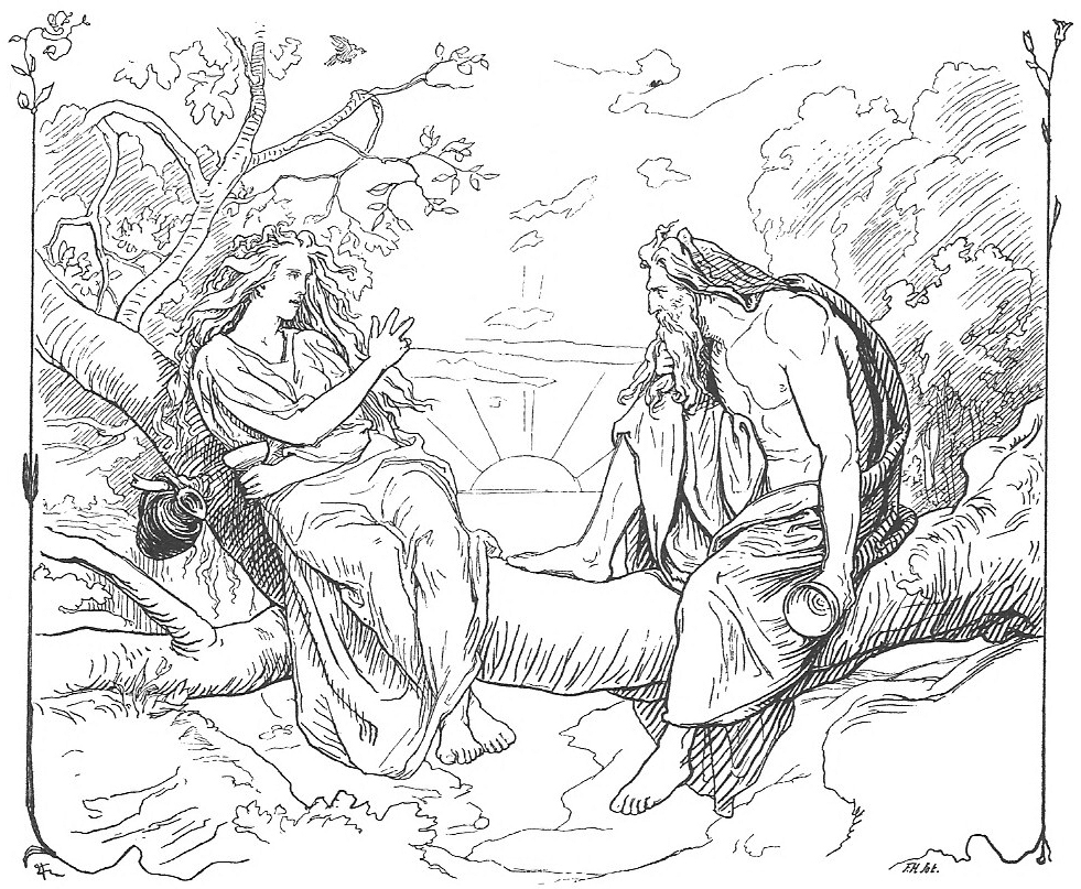 The goddess Sága chats with the god Odin in an illustration by Danish artist Lorenz Frølich (1895). Image from  Wikimedia Commons .