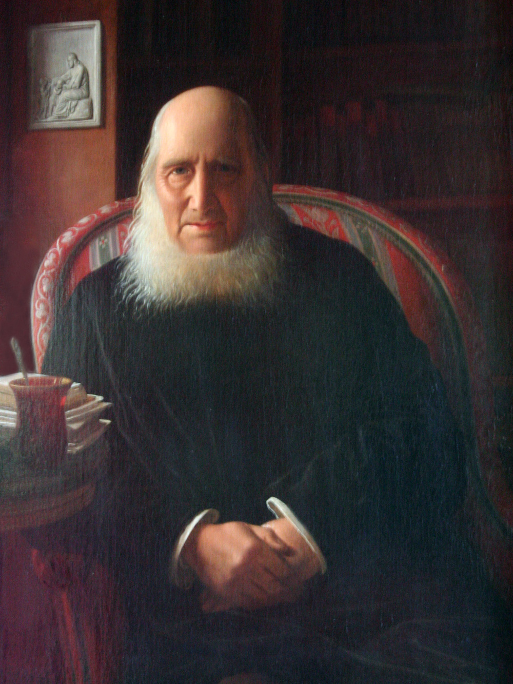 Portrait of N. F. S. Grundtvig by Constantin Hansen. Grundtvig, an iconic figure in Danish history, was the ideological founder of the folk school concept, which is now widespread in Scandinavia, Germany, and Austria. The concept has also inspired scattered schools throughout the United States.