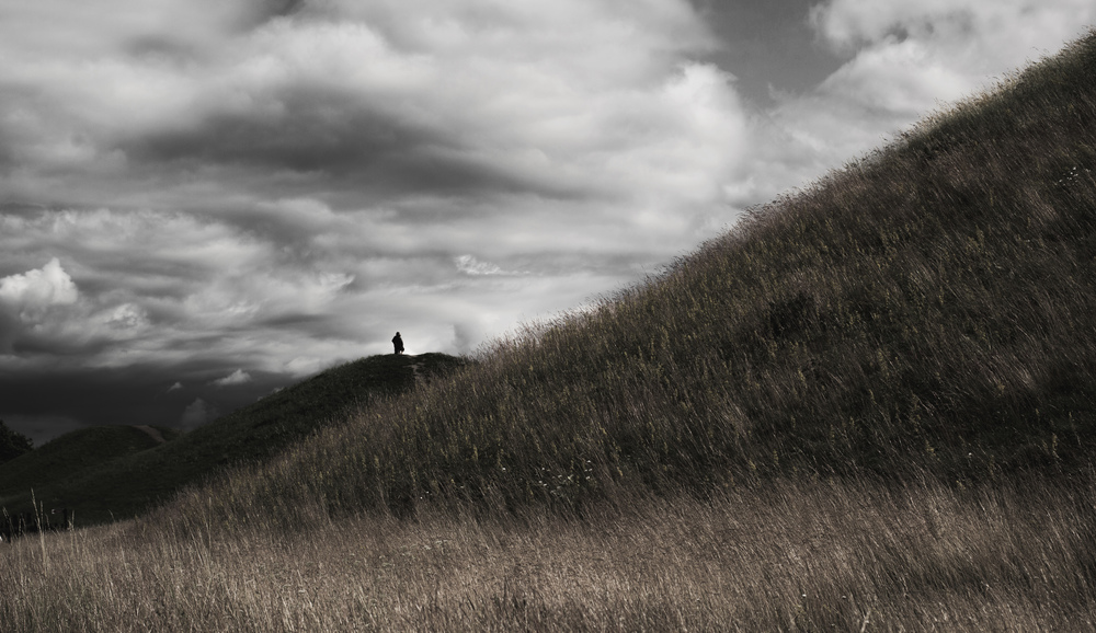 Photograph featuring the Gamla Uppsala Royal Mounds, Sweden, by Forndom, 2014. Used by permission of the artist.