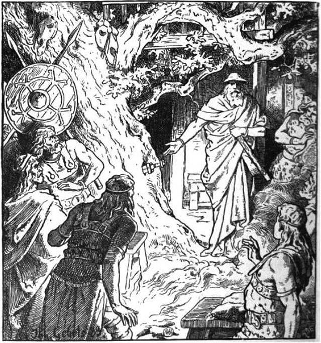 A 19th century illustration by Johannes Gehrts depicts a scene from the Old Norse Völsunga cycle, in which the god Odin plunges a fateful sword into the tree  Barnstokkr . The Völsung family and their guests are shocked by the sight.  From Wikimedia Commons .