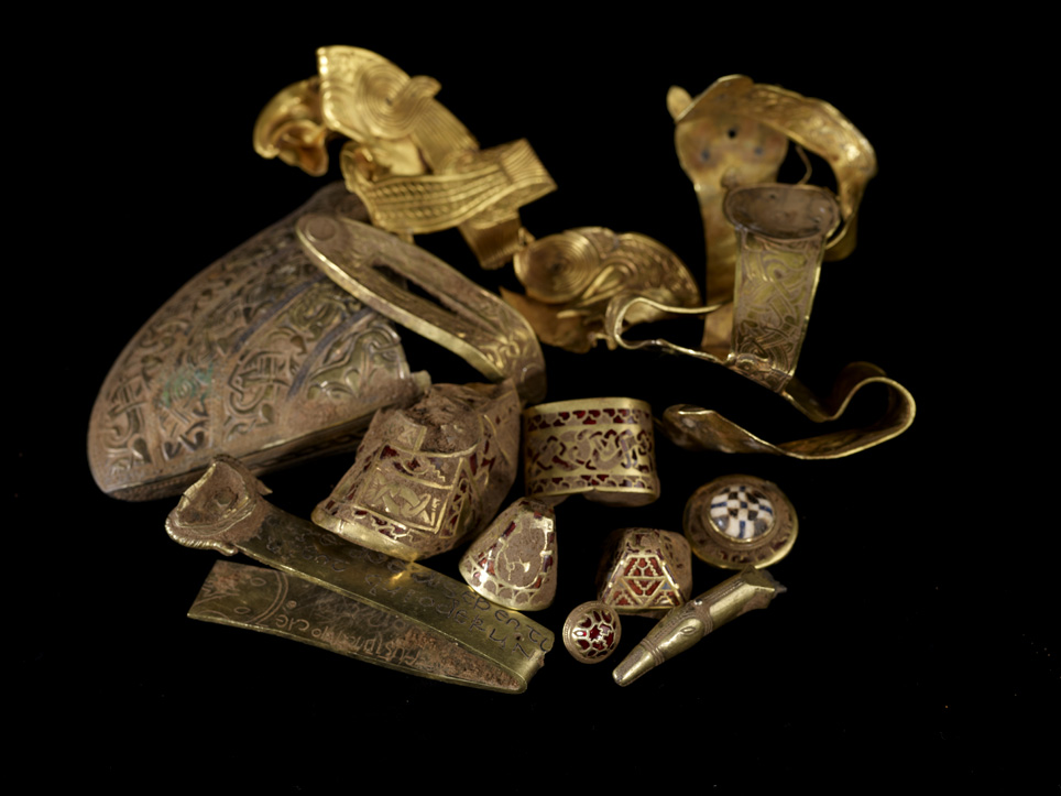 Selections from the Staffordshire Hoard. Image from Wikimedia Commons.