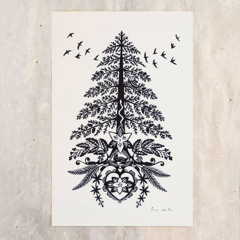 """Red Cedar"",2015. Scherenschnitte . Used by permission of artist. See addendum for additional information."
