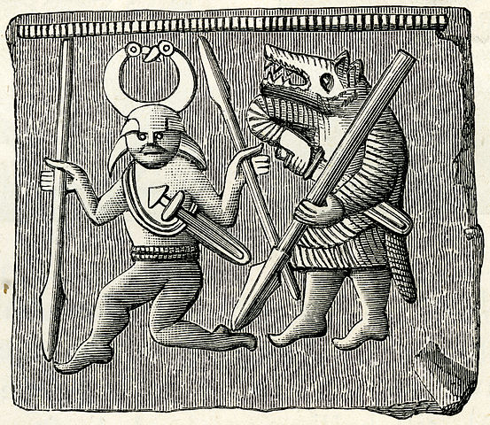 Two figures from a Vendel Period plate from Öland, Sweden, probably not discussing cake.   Image from Wikimedia Commons .