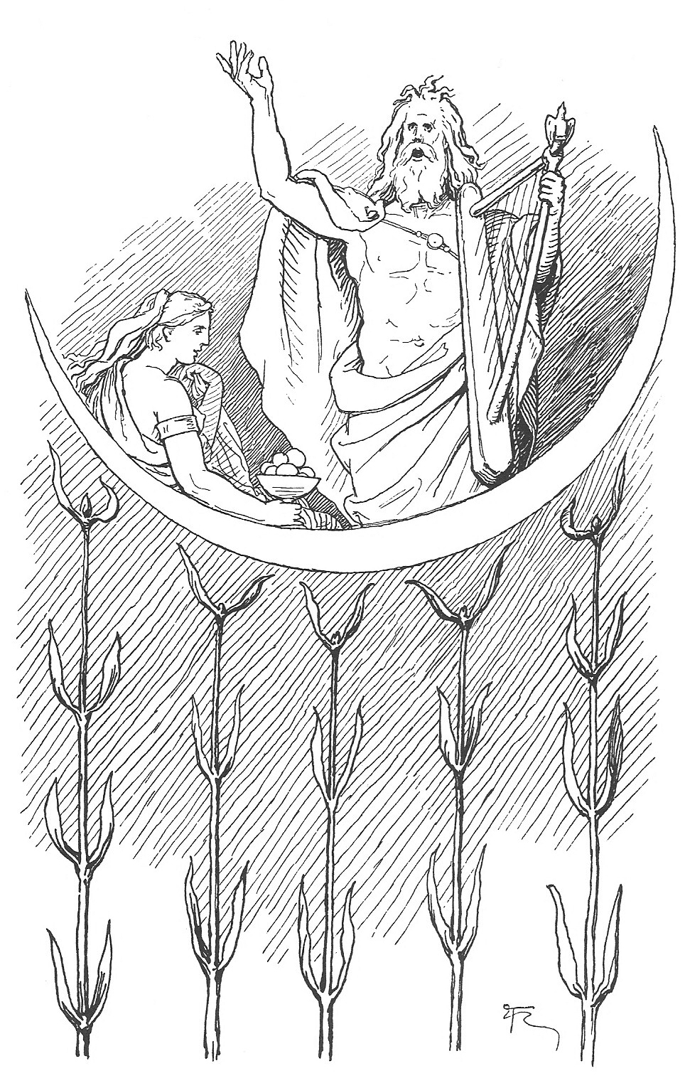 The god Bragi sings while the goddess Iðunn reclines in an 1895 illustration by Lorenz Frølich.  From Wikimedia Commons .