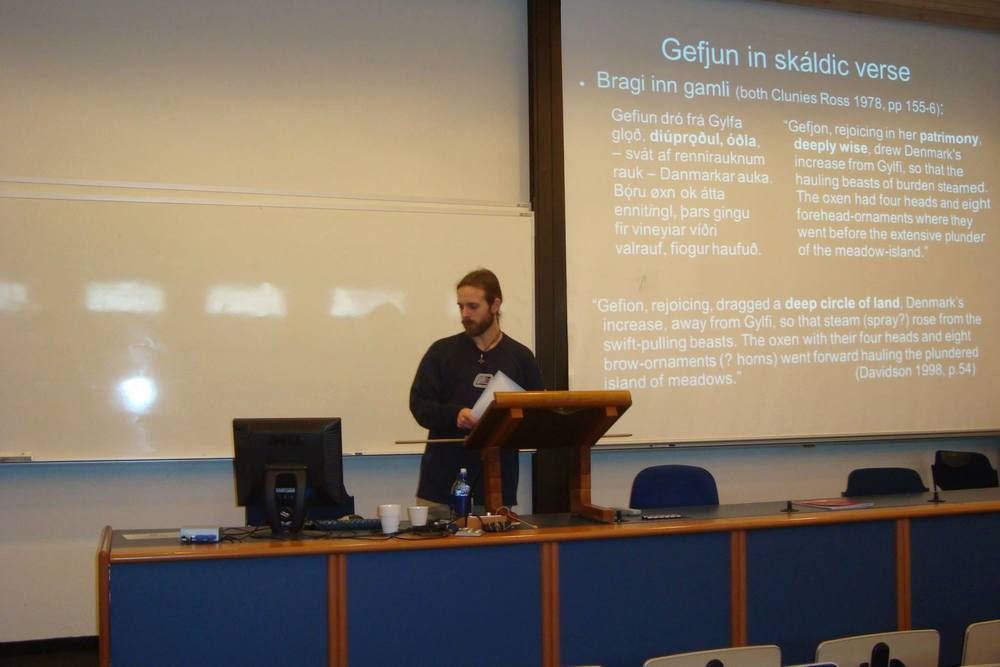 Kevin French presenting at the 2014 Háskóli Íslands student conference. Photographer Unknown.