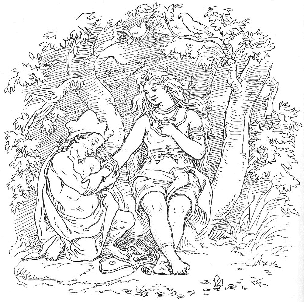 Alvíss and Þrúðr      by Lorenz Frølich, 1895.  Wikimedia Commons .