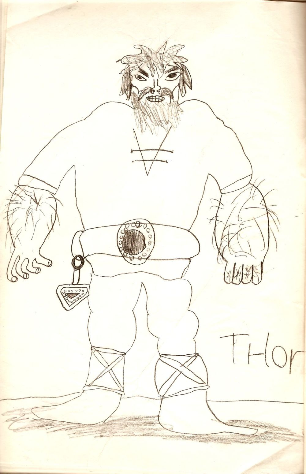 A burly Thor, ready to rumble and strongly influenced by Peter Madsen's  Valhalla  comic depiction, a series extremely popular in Denmark.  Illustration by Kim Larsen as a child.