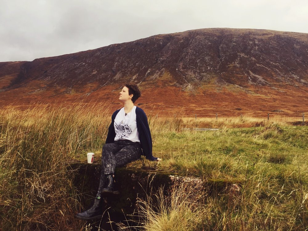 Kjersti Faret in the Scottish Highlands, Fall, 2016. Image provided by Faret.