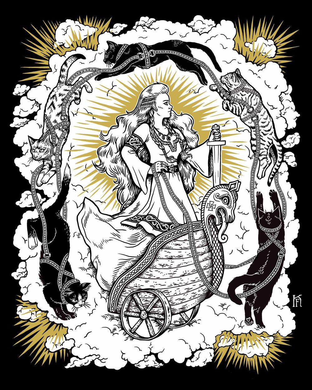 Freyja rides her cat-drawn wagon in Kjersti Faret's  Queen of Cats , digital/screen print, 2015.