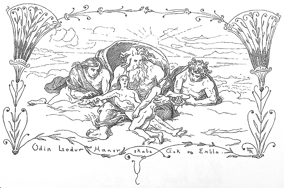 In a highly Renaissance-influenced illustration, Odin, Loðurr, and Hœnir create mankind. Lorenz Frølich, 1895.  Wikimedia Commons.