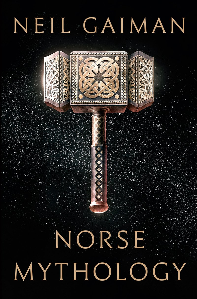 The cover of the first edition of Neil Gaiman's  Norse Mythology  features a rather idiosyncratic depiction of Thor's hammer, Mjöllnir.