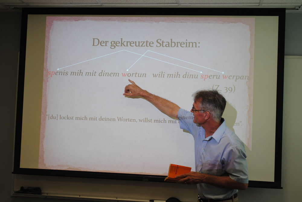 Alexander Sager discussing alliterative verse in the  Hildebrandslied , 2017. Photo: Kris Petti