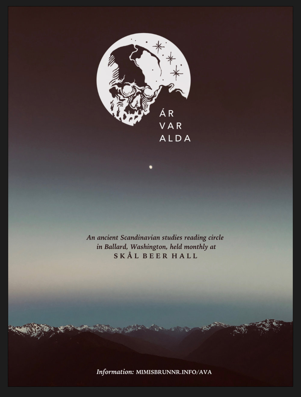 Ar Var Alda's 2019 flyer, featuring a photo of the Olympic Mountains (Hurricane Ridge) by Joseph S. Hopkins.