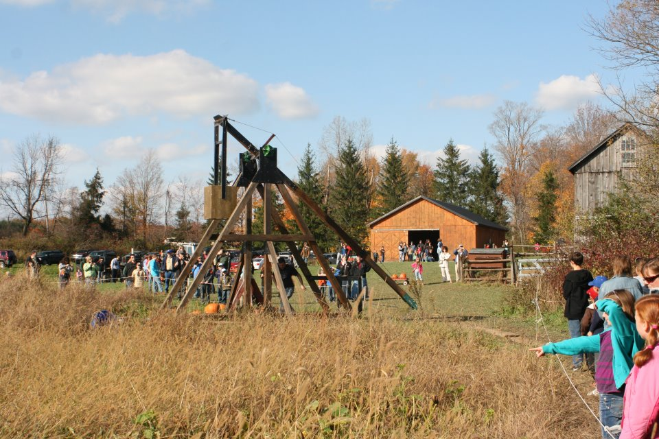 Boris, our trebuchet, is now 11 years old. He's faithfully launched over 1,000 pumpkins and he continues to astound everyone that witnesses his power.