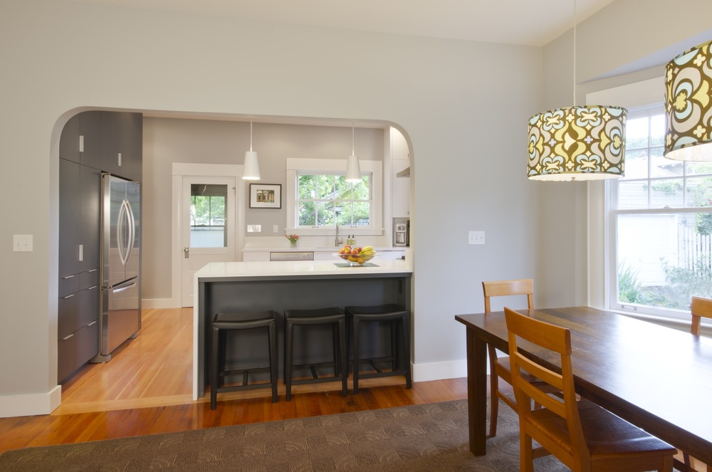 The Original Arched Opening Between Kitchen And Dining Room Was Broadened For Both Symmetry