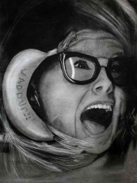 """Banana Phone"" – Charcoal Self Portrait (2010)"
