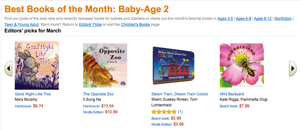 The Opposite Zoo is a March Best of the Month Pick at Amazon!  To buy this book --->  Click Here