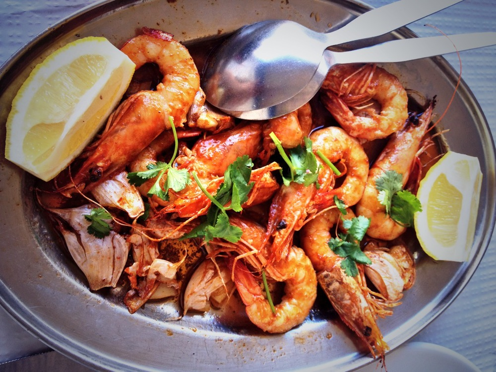 Grilled prawns, Lagos, Portugal