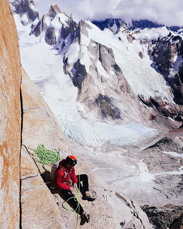 Andy enjoying a nice Patagonian belay. @rab.equipment