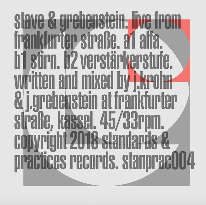 "The Brvtalist Premieres: Stave + Grebenstein - ""Alfa""   The Brvtalist is pleased to premiere a new track from  Stave  +  Grebenstein . The first collaboration between Jonathan Krohn (Stave, 1/2 of Talker) and Jan Grebenstein, the new EP,  Live from Frankfurter Strasse , consists of recordings which followed improvised live performances in San Francisco, Los Angeles and Berlin. The fourth release on  Standards & Practices , this is a seismic offering which sees two of the heaviest producers today in top form.  ""Alfa"" is the A side of the record and an immense and brutal excursion through the vast unknown. At times disorienting but precisely calculated, it exemplifies the duo's sheer force and sets the tone for a powerful release. Out September 14th on 12"" and digital. Visit  Standards and Practices  for more."