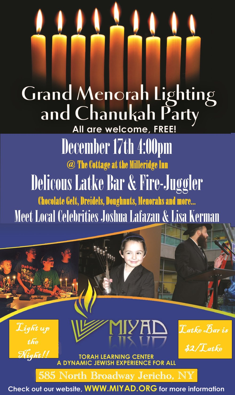 MiYaD Milleridge Inn Chanukah Party Menorah Lighting Celebration 5778.jpg