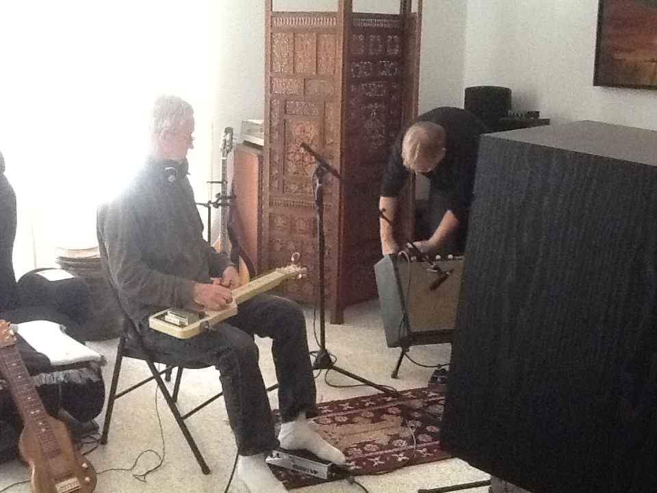"Dan Bonis and Rick setting up for ""The Earth Will Move"""