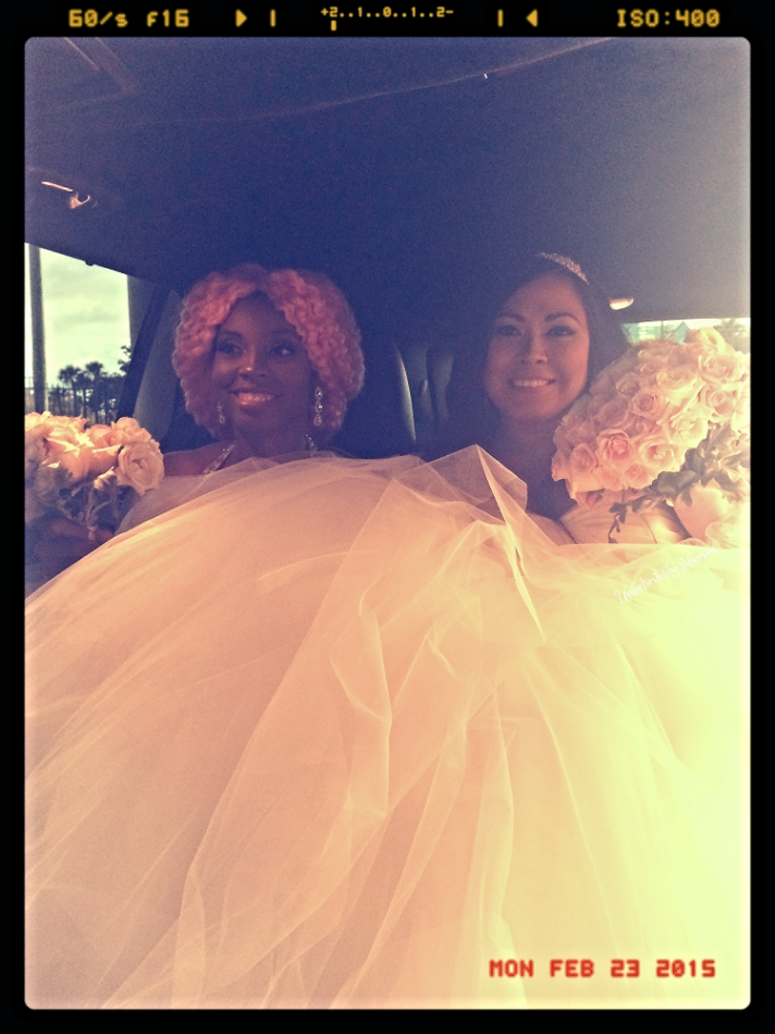 Us getting in the limo sitting under  all the tulle!