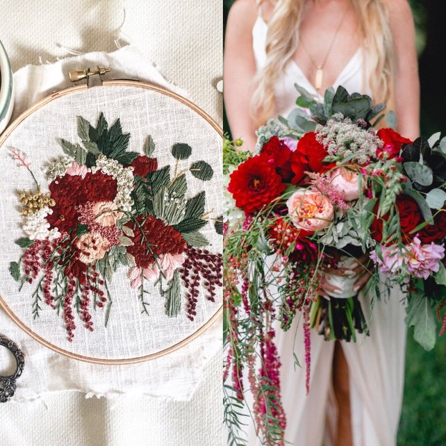 - These custom embroidery pieces by Muted Rose Embroidery make a beautiful and unique keepsake. She uses a photo of your own wedding bouquet and recreates it into a custom piece of art just for you. The best part is that you are in the clear if you didn't save your actual bouquet. All she needs is a photo!