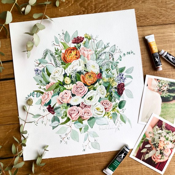 - Dana Rose Artwork makes these amazing custom watercolors using photos of your wedding bouquet. She turns it into a piece of art you can display in your home forever. This hand-painted floral is a great gift for a bride or for an anniversary!