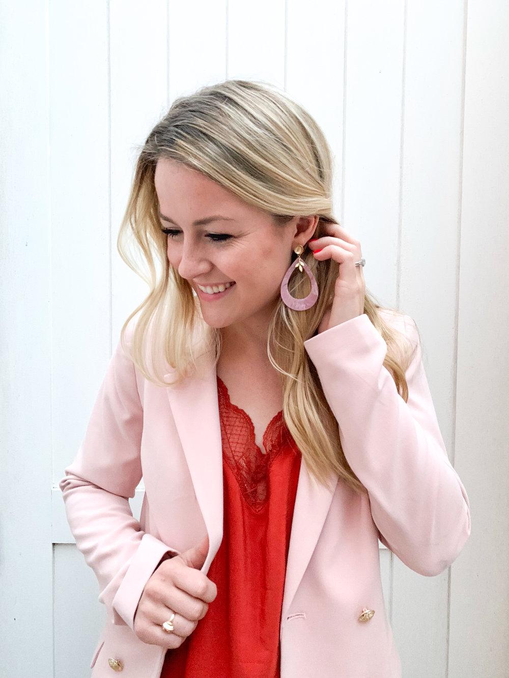 Pink Tortoise shell earrings