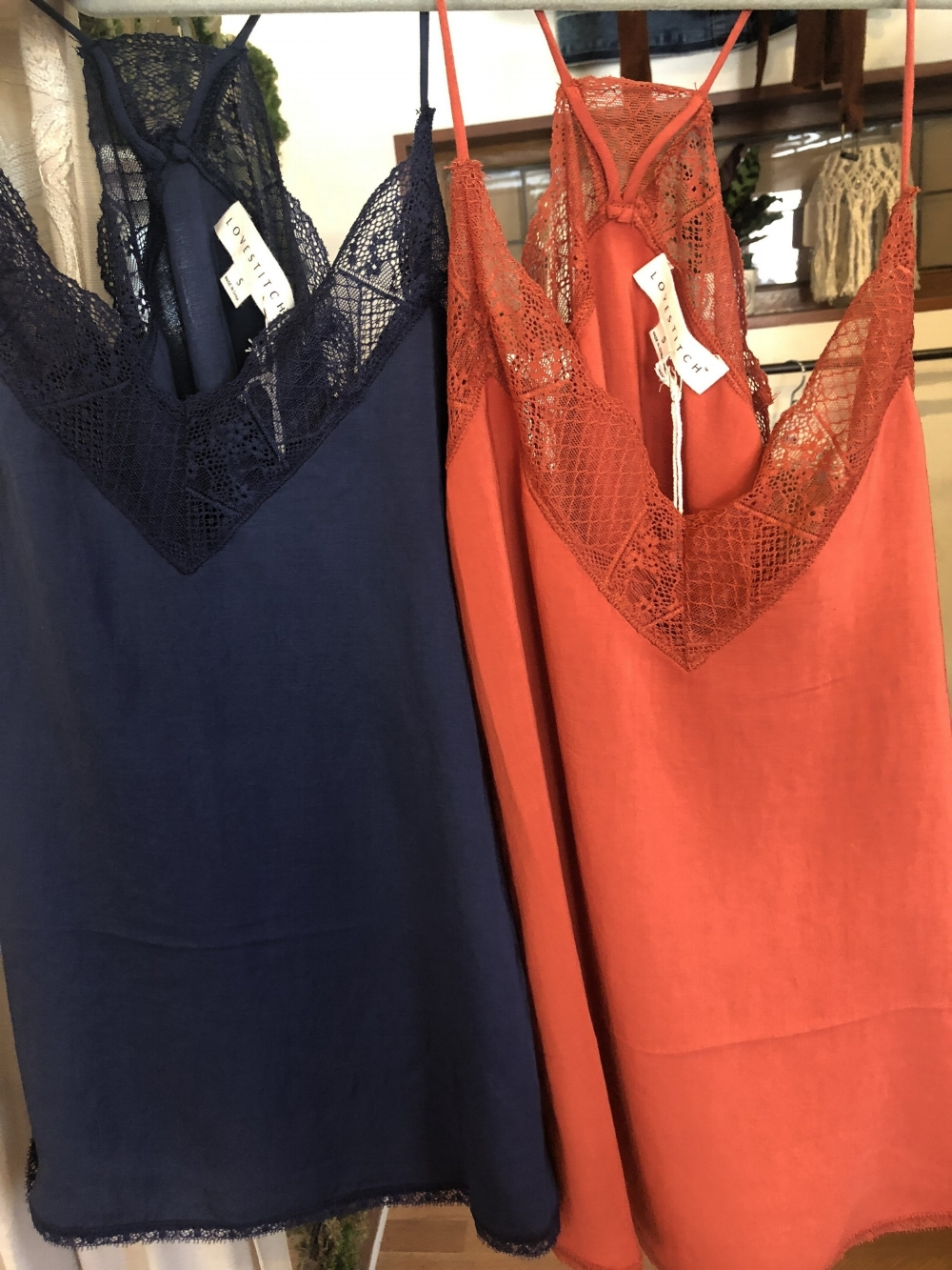 - Add in a fall colored silk tank under a pink sweater or blazer. These are from Stroll Boutique in San Diego.
