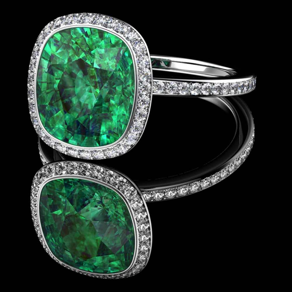 Natural Colombian Emerald • Diamond Micro-Pavé • Platinum (Pt.950)
